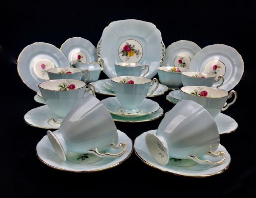 Vintage Adderley China Tea Set For 8 People / 1950's / Pale Blue / Floral Trio
